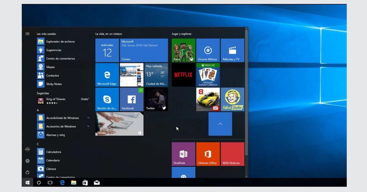 El menu inicio de Windows 10