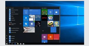 El menu inicio de Windows 10