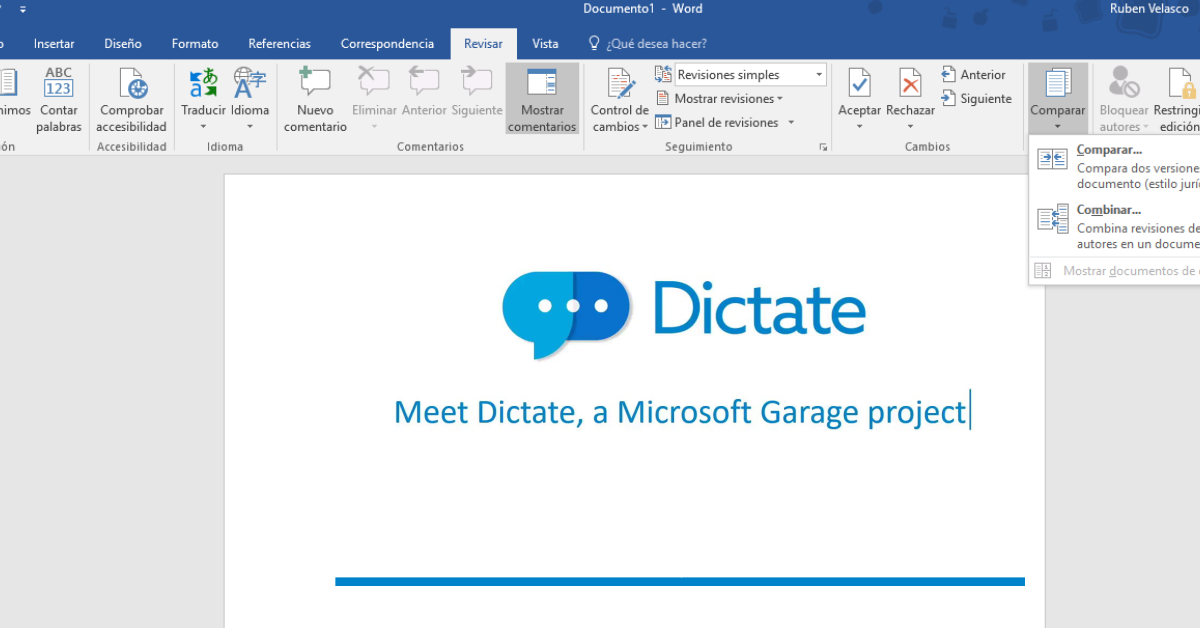 Dictar textos en Word y PowerPoint