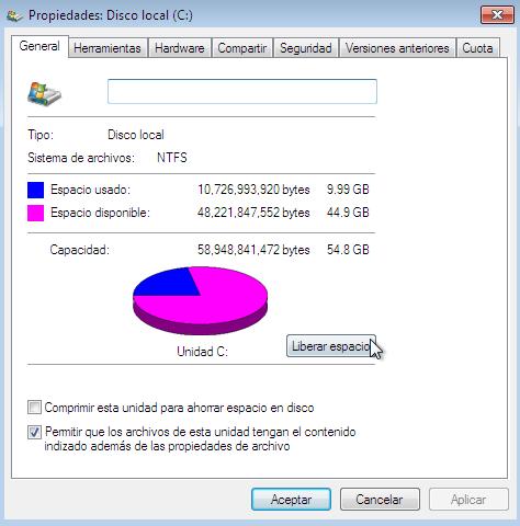 Como liberar espacio en el disco duro