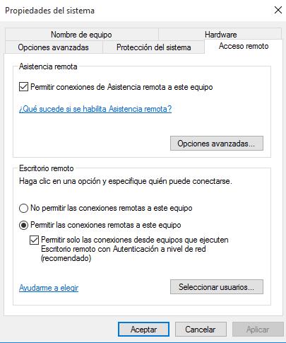 utilizar el escritorio remoto en Windows 10