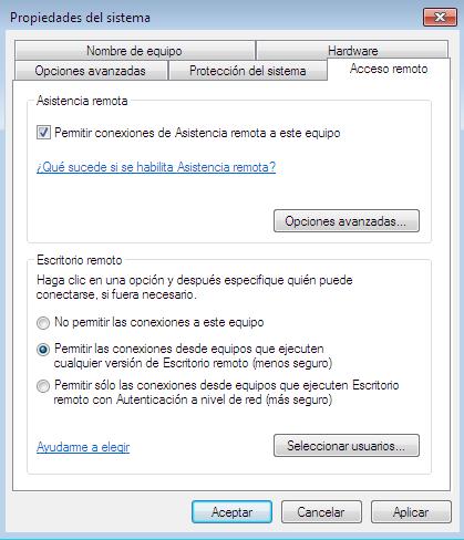 utilizar el escritorio remoto en Windows 7