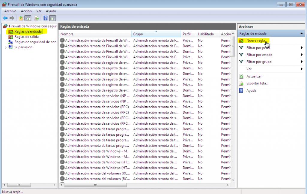 utilizar el escritorio remoto en Windows firewall