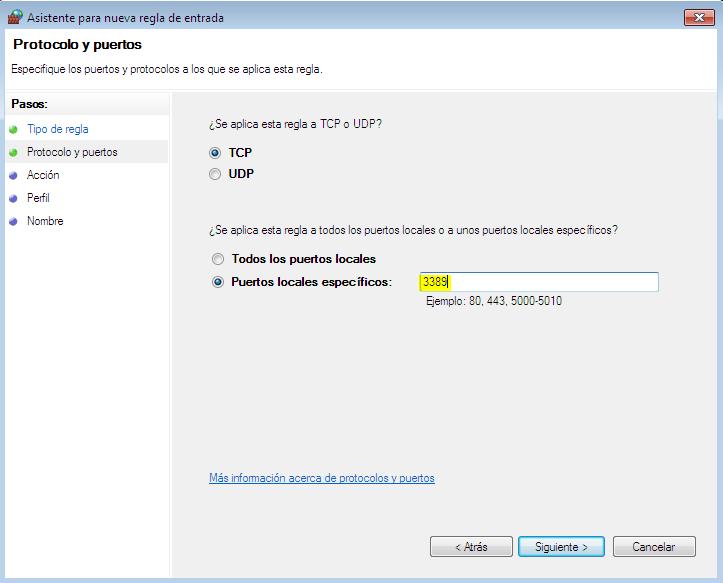 utilizar el escritorio remoto en Windows agregar puerto firwall