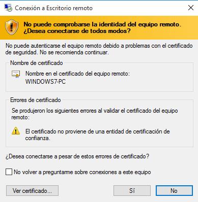 utilizar el escritorio remoto en Windows