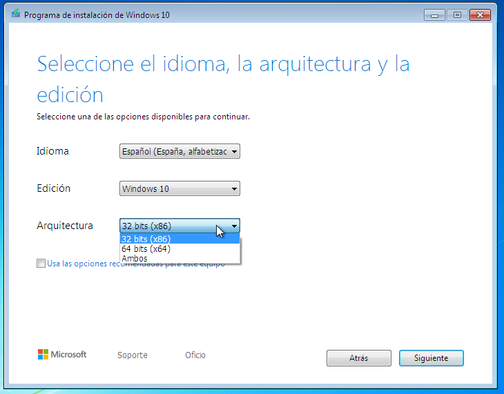 Windows 10 arquitectura