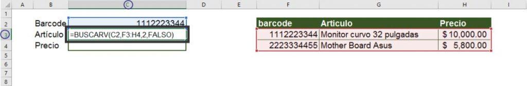 función BUSCARV ejemplo practico 1