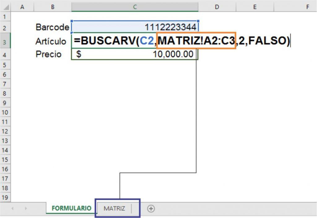 función BUSCARV en 2 hojas