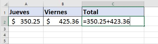 Trabajar con Formulas básicas en Excel