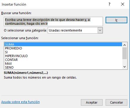 Trabajar con funciones en Excel