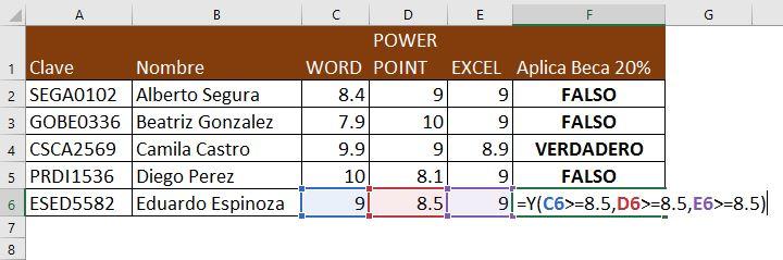 Función Y en Excel
