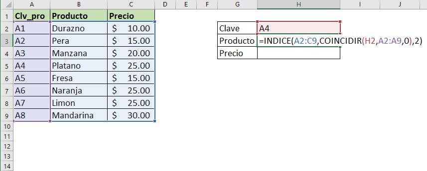 Función INDICE + COINCIDIR