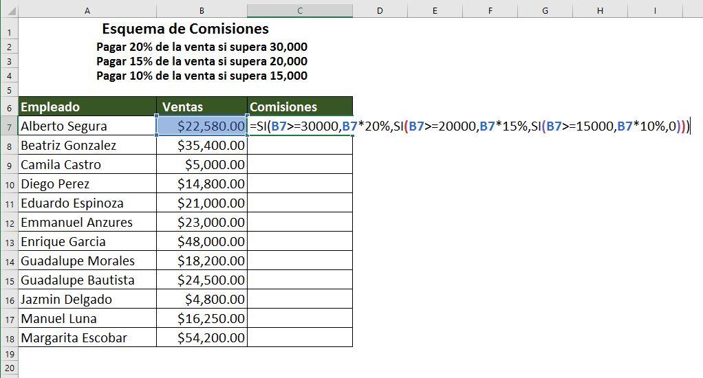 Función SI anidada en Excel