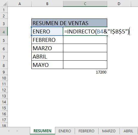 función INDIRECTO en Excel