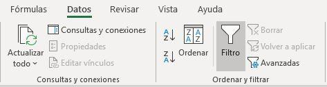 Uso de filtros en Excel comando