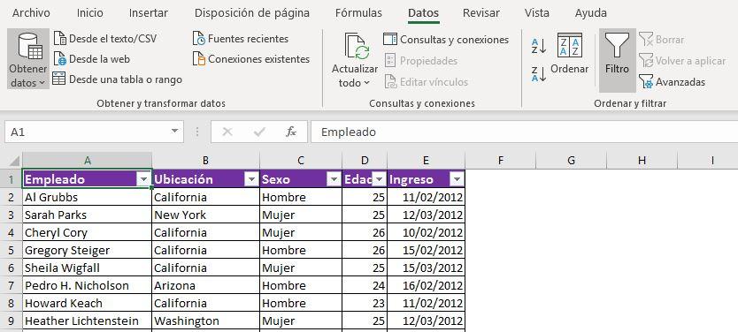 Uso de filtros en Excel aplicado